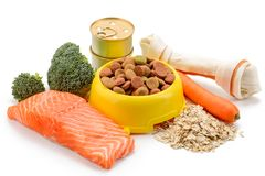 Dry dog food. Bone treat, canned and dry dog food made of natural ingredients. Bowl of kibble, raw salmon, cereal and vegetables royalty free stock photos