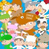 Boneca animal da criança do zodíaco chinês, ano da ilustração do cavalo Foto de Stock