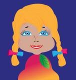 Boneca da menina com olhos expressivos e cabelo luxúria Ilustração Stock