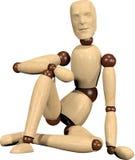Boneca de madeira de assento Imagens de Stock Royalty Free