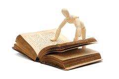 Boneca de madeira que lê um livro imagens de stock royalty free