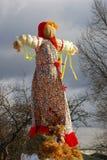 Boneca de Maslenitsa Árvores sem fundo das folhas Fotografia de Stock