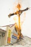 Boneca de Maslenitsa no incêndio Fotos de Stock