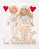 Boneca de matéria têxtil feito a mão - um par anjos Fotografia de Stock Royalty Free