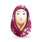 Boneca de Onna Daruma Japanese em um quimono roxo com um teste padrão da cereja Ilustração do vetor no fundo branco Fotografia de Stock