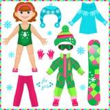 Boneca de papel com um grupo de roupa Menina bonito da fôrma Fotografia de Stock Royalty Free