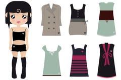 Boneca de papel fêmea de cabelo preta Imagens de Stock Royalty Free