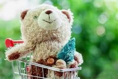 Boneca de sorriso do urso de peluche que senta-se no mini carrinho de compras ou trole fotografia de stock royalty free