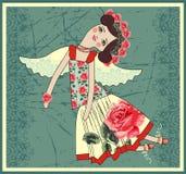 Boneca de Tilda de matéria têxtil com asas do anjo Fotografia de Stock