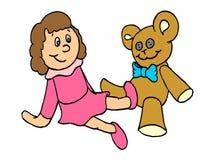 Boneca do bebê e do urso ilustração stock