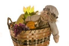 Boneca do espantalho na cesta da colheita Fotos de Stock