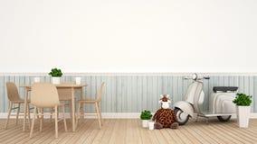 Boneca do girafa e motocicleta do vintage na sala de jantar - 3D Renderin Imagens de Stock