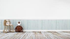 Boneca do girafa e urso de peluche na decoração de madeira - rendição 3d Imagem de Stock
