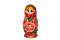 Boneca do matryoshka do russo no fundo branco Foto de Stock Royalty Free