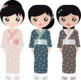Boneca do papel japonês ilustração stock