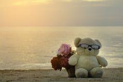 A boneca do urso do cutie de Brown e a cesta das flores sentam-se no assoalho da praia imagem de stock