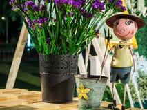 Boneca e flor do fazendeiro do menino na tabela Fotografia de Stock Royalty Free