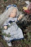 Boneca e pássaro de Waldorf Fotografia de Stock Royalty Free