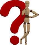 Boneca e ponto de interrogação de madeira Imagem de Stock Royalty Free