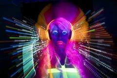 Boneca fêmea do cyber do disco 'sexy' de néon uv do fulgor Foto de Stock Royalty Free