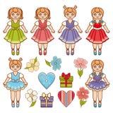 Boneca Grupo colorido ilustração stock