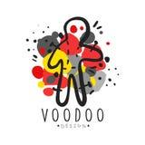 Boneca mágica africana e americana do vudu do logotipo com agulhas ilustração stock