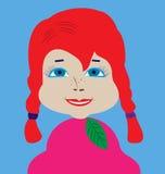 Boneca-menina com olhos azul esverdeado e cabelo longo do vermelho das tranças Foto de Stock Royalty Free