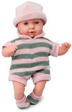 Boneca no chapéu e no vestido feitos malha no branco isolado Imagem de Stock Royalty Free