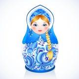 Boneca tradicional do vetor do russo no estilo de Gzhel Foto de Stock Royalty Free