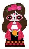 Boneca vermelha do catrina ilustração do vetor