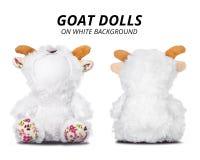 Bonecas da cabra isoladas no fundo branco Cara vazia para seu projeto imagens de stock