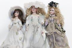 Bonecas da porcelana no traje do vintage fotografia de stock royalty free