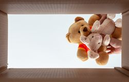 Bonecas de embalagem na caixa para mover-se da casa A foto toma da vista inferior fotos de stock royalty free