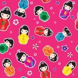 Bonecas de Kokeshi sem emenda Fotos de Stock Royalty Free