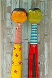 Bonecas de madeira dos pares Foto de Stock