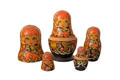 Bonecas do russo de Matryoshka no fundo branco Fotografia de Stock
