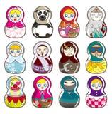 Bonecas do russo dos desenhos animados Fotos de Stock Royalty Free