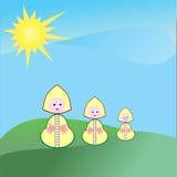 Menina dos desenhos animados no cartão do sol Foto de Stock