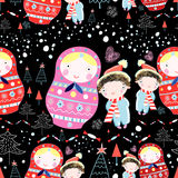 Bonecas e crian?as da textura do inverno Imagens de Stock