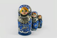 Bonecas pintados à mão de Matryoshka do russo tradicional Imagem de Stock Royalty Free