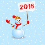 Boneco de neve alegre com os números 2016 ilustração royalty free