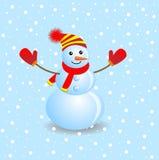 Boneco de neve alegre em um fundo azul ilustração royalty free