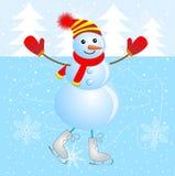 Boneco de neve alegre que patina no gelo ilustração royalty free