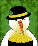 Boneco de neve & potenciômetro de ouro Foto de Stock