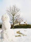 Boneco de neve ao meio do jardim feito Fotos de Stock