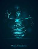 Boneco de neve azul mágico do inverno Traço espiral de incandescência com dus brilhado Imagem de Stock