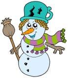 Boneco de neve bonito com lenço e vassoura Fotografia de Stock Royalty Free