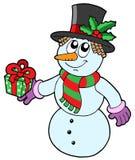 Boneco de neve bonito com presente Fotografia de Stock Royalty Free