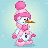 Boneco de neve bonito do Natal com chapéu e lenço de Santa Ilustração do vetor Imagens de Stock Royalty Free