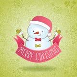 Boneco de neve bonito dos desenhos animados com fita do Natal Fotos de Stock Royalty Free